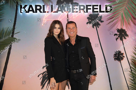Kaia Gerber (L) and Pier Paolo Righi (R) celebrate the launch of the Karl x Kaia collaboration capsule collection during the Paris Fashion Week, in Paris, France, 02 October 2018. The presentation of the Women's collections runs from 24 September to 02 October 2018.