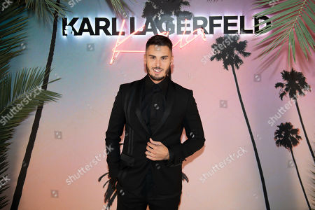 French model and singer Baptiste Giabiconi celebrates the launch of the Karl x Kaia collaboration capsule collection during the Paris Fashion Week, in Paris, France, 02 October 2018. The presentation of the Women's collections runs from 24 September to 02 October 2018.