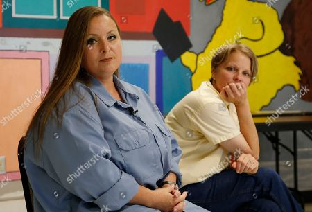 Leigh Ann Zaefpel, Dana Barker. Dane Barker, left, and Leigh Ann Zaefpel, right, listen to a question during an interview at the Mabel Basset Correctional Center In McCloud, Okla., . Both are serving life sentences without parole for crimes they comitted as juveniles