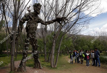 "A group of residents stand near a sculpture of Groot, a comic book superhero, at a public wetland in Cuzco, Peru. The wetland opened on May 1, and the next day got a surprise boost from afar when ""Guardians of the Galaxy"" director James Gunn tweeted photographs of the statues"