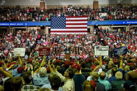 US President Donald Trump addresses supporters at a Make America Great Again rally at the Landers Center in Southaven, Mississippi, USA, 02 October 2018. President Trump has been holding MAGA rallies around the country supporting Republican candidates and speaking about what he believes are the accomplishment of his administration. During this rally, President Trump made statements mocking the testimony of Dr. Christine Blasey Ford, who has accused Supreme Court nominee Brett Kavanaugh of allegedly sexually assulting her when they were in high school.