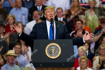 US President Donald Trump speaks at a Make America Great Again rally at the Landers Center in Southaven, Mississippi, USA, 02 October 2018. President Trump has been holding MAGA rallies around the country supporting Republican candidates and speaking about what he believes are the accomplishment of his administration. During this rally, President Trump made statements mocking the testimony of Dr. Christine Blasey Ford, who has accused Supreme Court nominee Brett Kavanaugh of allegedly sexually assulting her when they were in high school.