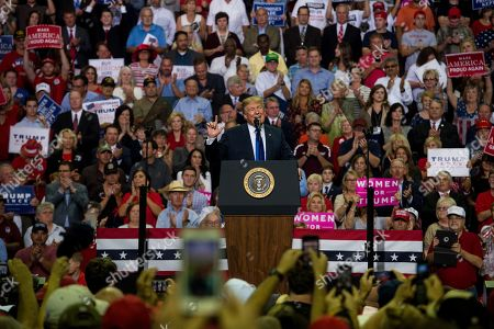 US President Donald Trump (C) speaks at a Make America Great Again rally at the Landers Center in Southaven, Mississippi, USA, 02 October 2018. President Trump has been holding MAGA rallies around the country supporting Republican candidates and speaking about what he believes are the accomplishment of his administration. During this rally, President Trump made statements mocking the testimony of Dr. Christine Blasey Ford, who has accused Supreme Court nominee Brett Kavanaugh of allegedly sexually assulting her when they were in high school.