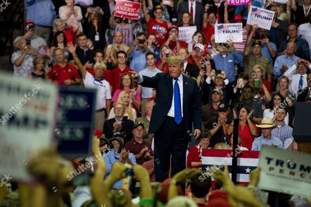 US President Donald J. Trump addresses supporters at a Make America Great Again rally at the Landers Center in Southaven, Mississippi, USA, 02 October 2018. President Trump has been holding MAGA rallies around the country supporting Republican candidates and speaking about what he believes are the accomplishment of his administration. During this rally, President Trump made statements mocking the testimony of Dr. Christine Blasey Ford, who has accused Supreme Court nominee Brett Kavanaugh of allegedly sexually assulting her when they were in high school.