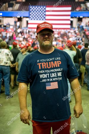 Dallas Stone poses for a photograph before US President Donald J. Trump takes the stage at a Make America Great Again rally at the Landers Center in Southaven, Mississippi, USA, 02 October 2018. President Trump has been holding MAGA rallies around the country supporting Republican candidates and speaking about what he believes are the accomplishment of his administration. During this rally, President Trump made statements mocking the testimony of Dr. Christine Blasey Ford, who has accused Supreme Court nominee Brett Kavanaugh of allegedly sexually assulting her when they were in high school.