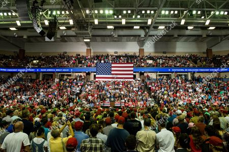 Stock Photo of Supporters listen as US President Donald J. Trump speaks at a Make America Great Again rally at the Landers Center in Southaven, Mississippi, USA, 02 October 2018. President Trump has been holding MAGA rallies around the country supporting Republican candidates and speaking about what he believes are the accomplishment of his administration. During this rally, President Trump made statements mocking the testimony of Dr. Christine Blasey Ford, who has accused Supreme Court nominee Brett Kavanaugh of allegedly sexually assulting her when they were in high school.