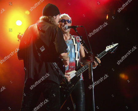 Ralph Rieckermann and Rudolf Schenker of Scorpions Perform at Lakewood Amphitheatre in Atlanta On June 19 2002