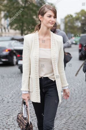 Stock Picture of Model Ophelie Guillermand after Chanel show