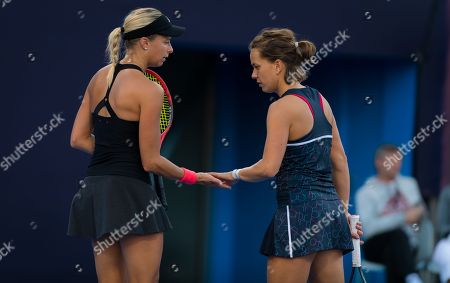 Andrea Sestini Hlavackova & Barbora Strycova of the Czech Republic in action during their doubles match