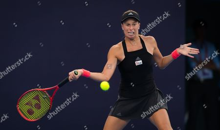 Andrea Sestini Hlavackova of the Czech Republic in action during their doubles match