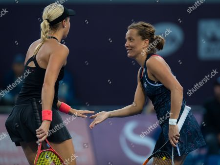 Barbora Strycova & Andrea Sestini Hlavackova of the Czech Republic in action during their doubles match