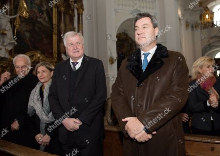 Former Bavarian Prime Minister Edmund Stoiber (L-R), Maike Kohl-Richter, German Minister of Interior, Construction and Homeland Horst Seehofer and Bavarian Prime Minister Markus Soeder during a commemoration in Rott am Inn, Germany, 03 Oktober 2018. The service is held in commemoration of the 30th anniversary of the death of Franz Josef Strauss.