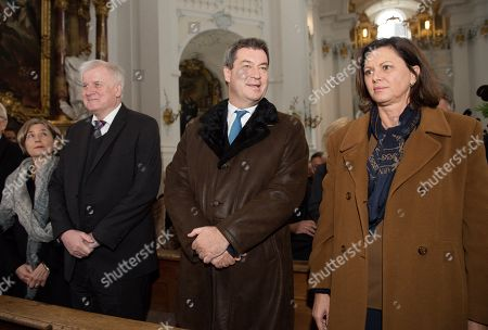 Stock Picture of Maike Kohl-Richter (L-R), German Minister of Interior, Construction and Homeland Horst Seehofer, Bavarian Prime Minister Markus Soeder and Bavarian Economy Minister Ilse Aigner during a commemoration in Rott am Inn, Germany, 03 Oktober 2018. The service is held in commemoration of the 30th anniversary of the death of Franz Josef Strauss.