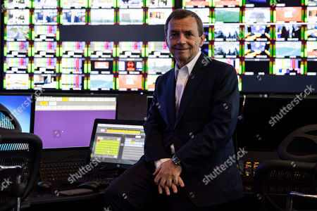 Stock Image of NextRadioTV and SFR CEO Alain Weill poses for photographs in a control room during the press opening of the AlticeCampus, the large building that will host all the media activities of the French telecommunications and media group, in Paris, France, 03 October 2018.