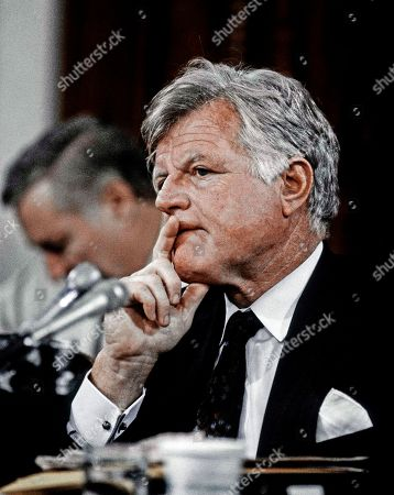 Senator Edward Kennedy listens during Senate Judiciary Committee hearings on the confirmation of Judge Clarence Thomas to be confirmed as Associate Justice of the United States Supreme Court