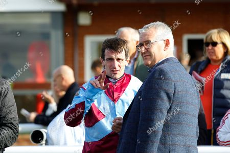 Brian Hughes with Donald McCain after victory of Val Mome at Bangor-on-Dee.