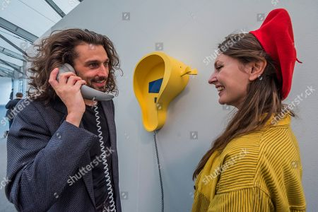 One of a series of stylised self help telephones, part of a Live installation by Camille Henrot - The Frieze Art Fair in Regents Park. It remains open till 7 Oct 2018.