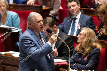 Stock Photo of French Territorial and Cohesion Minister Jacques Mezard during the weekly session of questions to the government at the National Assembly