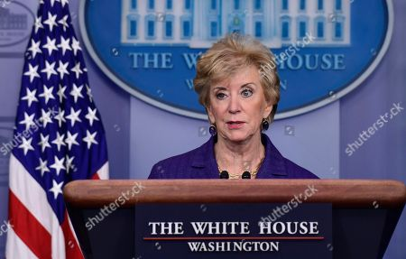 Small Business Administrator Linda McMahon speaks during a briefing at the White House in Washington, . President Donald Trump gave his quarterly White House salary to the Small Business Administion