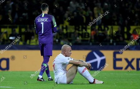 Monaco's goalkeeper Danijel Subasic (L) and  Andrea Raggi react during the UEFA Champions League Group A soccer match between Borussia Dortmund and AS Monaco in Dortmund, Germany, 03 October 2018.