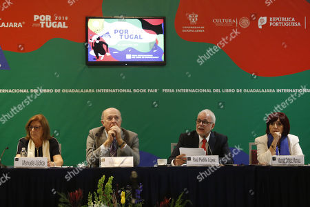 Stock Picture of Commissioner of the delegation of Portugal in the FIL, Manuela Judice (L); Rector of the University of Guadalajara (UDG), Raul Navarro (2L); President of the FIL Guadalajara, Raul Padilla (2-R), and General Director of the FIL, Marisol Schulz (R), participate in a press conference in Guadalajara, Jalisco, Mexico, 03 October 2018. Turkish Literature Nobel Prize winner Orhan Pamuk, Spanish writer Arturo Pérez-Reverte and Uruguayan poet Ida Vitale will lead the 32nd edition of the International Book Fair (FIL), which will take place in the Mexican city of Guadalajara between 25 November and 02 December 2018.