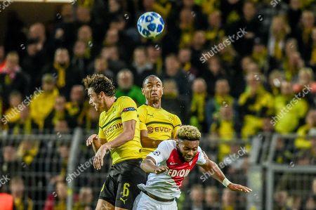 Football : Germany - Champions League 2018/19  Borussia Dortmund Vs AS Monaco  03/10/2018 -Thomas Delaney  (Borussia Dortmund), Abdou Diallo (AS Monaco), Joo-Ho Park (Borussia Dortmund)   during a Champions League game at the Signal Iduna Park Stadium, Dortmund.