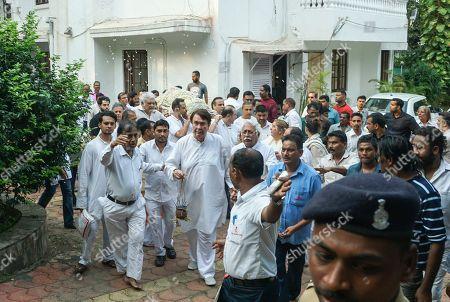 Son of Raj Kapoor and Bollywood actor Randhir Kapoor during Krishna Raj Kapoor Funeral Procession at Chembur