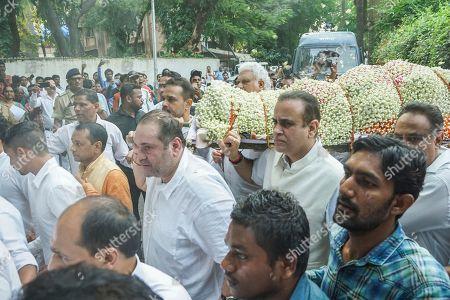 Son of Raj Kapoor and Bollywood actor Rajiv Kapoor during Krishna Raj Kapoor Funeral Procession at Chembur