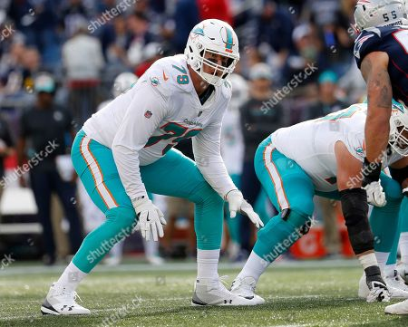 Miami Dolphins offensive tackle Sam Young during an NFL football game against the New England Patriots at Gillette Stadium, in Foxborough, Mass