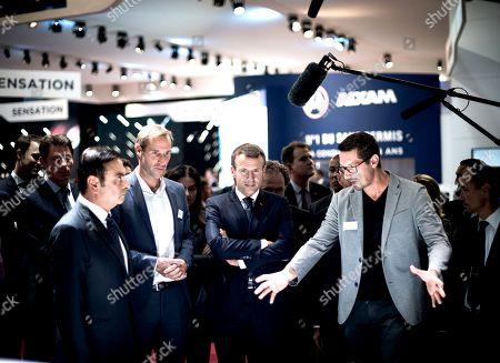 Carlos Goshn, Luc Chatel and Emmanuel Macron