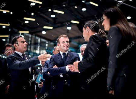 Carlos Goshn, Luc Chatel, Thierry Bollore and Emmanuel Macron