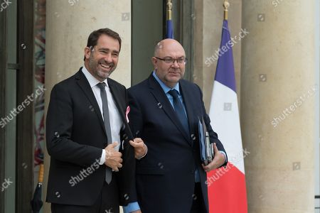 French Minister of State for Relations with Parliament Christophe Castaner and French Agriculture Minister Stephane Travert leave after the weekly cabinet meeting at Elysee Palace.