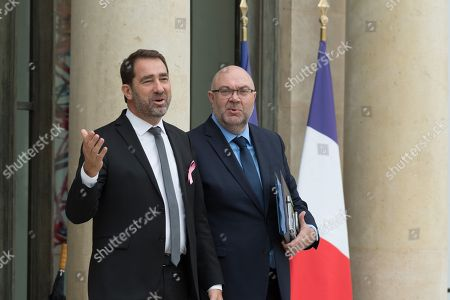 Stock Picture of French Minister of State for Relations with Parliament Christophe Castaner and French Agriculture Minister Stephane Travert leave after the weekly cabinet meeting at Elysee Palace.