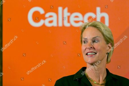Nobel chemistry winner Frances Arnold takes questions from the media at California Institute of Technology, in Pasadena, Calif., . Arnold of Caltech was awarded half of the 9-million-kronor ($1.01 million) prize, while the other half was shared by George Smith of the University of Missouri and Gregory Winter of the MRC molecular biology lab in Cambridge, England