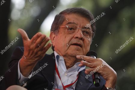 Nicaraguan writer and former vice president Sergio Ramirez participates in the panel 'Nicaragua: The shout of volcanos' during the 6th Gabriel Garcia Marquez Journalism Festival, in Medellin, Colombia, 03 October 2018.