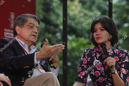 Nicaraguan writer and former vice president Sergio Ramirez (L) and Ecuadoran journalist Sabrina Duque (R) take part in the panel 'Nicaragua: The shout of the volcanos' during the 6th Gabriel Garcia Marquez Journalism Festival, in Medellin, Colombia, 03 October 2018.