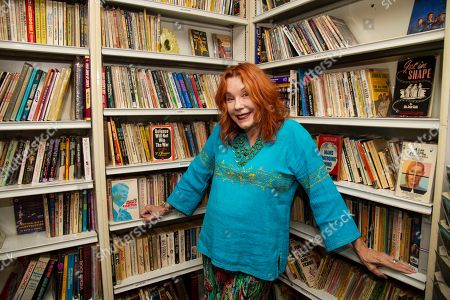 Miss Pamela Des Barres poses for portraits before her creative writing workshop at the James Dean Gallery, in Fairmont, Ind