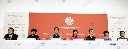 (L-R) Busan International Film Festival (BIFF) director Jeon Jay, South Korean director Yoon Jero, South Korean actors: Lee Yu-jun, Lee Na-young, Jang Dong-yoon,Oh Kwang-rok and Seo Hyun-woo attend a press conference for the opening film 'Beautiful Days' at the 23rd Busan International Film Festival (BIFF) in Busan, South Korea, 04 October 2018. The BIFF will screen 323 films from 79 countries and runs from 04 to 13 October 2018.