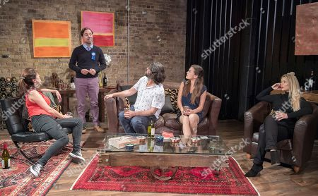 Stock Picture of Sarah Toogood as Frances, Paul Giddings as Will, Kamaal Hussain as Ralph, Marine Andre as Clemence, Gemma Germaine as Stacey