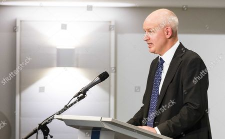 British ambassador to The Netherlands, Peter Wilson, speaks at a press conference of the Dutch Military Intelligence and Security Service (MIVD) in The Hague, The Netherlands, 04 October 2018. In April, the MIVD allegedly thwarted a Russian cyber-attack operation against the  The Hague-based Organisation for the Prohibition of Chemical Weapons (OPCW).