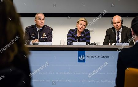 (L-R) Head of Dutch Military Intelligence and Security Service, Onno Eichelsheim, Dutch Minister of Defence Ank Bijleveld and British ambassador to The Netherlands, Peter Wilson, attend press conference of the Dutch Military Intelligence and Security Service (MIVD) in The Hague, The Netherlands, 04 October 2018. In April, the MIVD allegedly thwarted a Russian cyber-attack operation against the  The Hague-based Organisation for the Prohibition of Chemical Weapons (OPCW).