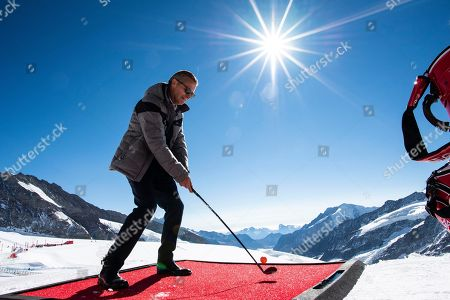 Omega CEO Raynald Aeschlimann speaks during a golf event on the Aletsch glacier, 3'454 meters above sea level on the Jungfraujoch, Switzerland, 04 OCtober 2018.