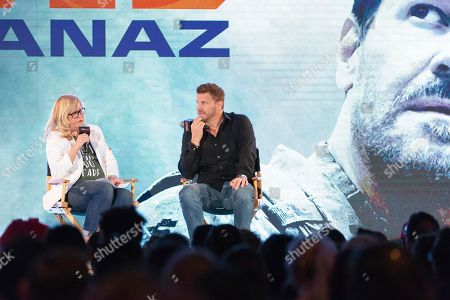 David Boreanaz, center, speaks on stage during the first day of New York Comic Con