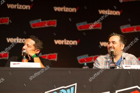 """Brian Quinn, right, speaks on stage while Sal Vulcano looks on at the """"Impractical Jokers"""" panel during the first day of New York Comic Con"""
