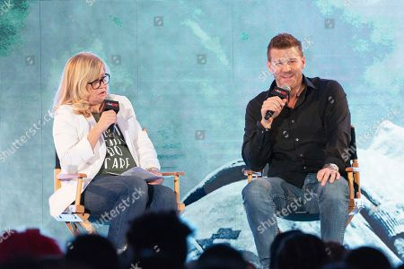 David Boreanaz, right, speaks on stage during the first day of New York Comic Con