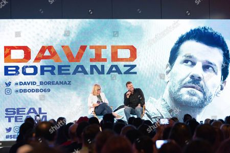David Boreanaz speaks on stage during the first day of New York Comic Con