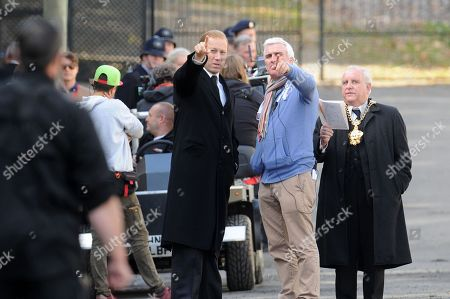 Tobias Menzies (L) who plays Prince Philip, with the cast of Netflix series The Crown during rehearsals in Cwmaman, Wales, UK.Filming of Netflix series The Crown, in the town of Cwmaman, south Wales, UK.