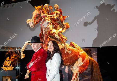 Dr Gunther von Hagens and his Wife, Angelina Whalley in front of 'The Rearing Horse and Rider'.  Preview of Body Worlds exhibition which opens at the London Pavilion on October 6th. Created by Dr Gunther von Hagens and his Co-Director and wife, Dr Angelina Whalley.With over 200 exhibits it includes 25 full body plastinates.