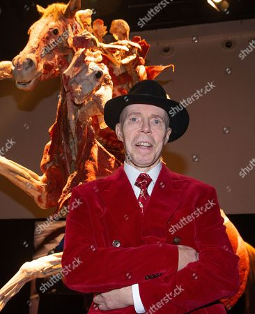 Dr Gunther von Hagens in front 'The Rearing Horse and Rider'. Preview of Body Worlds exhibition which opens at the London Pavilion on October 6th. Created by Dr Gunther von Hagens and his Co-Director and wife, Dr Angelina Whalley.With over 200 exhibits it includes 25 full body plastinates.