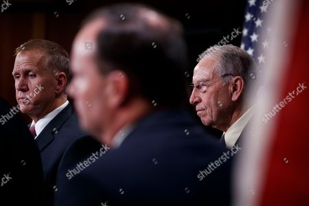 Senate Judiciary Committee Chairman Chuck Grassley (R) and Republican Senator from North Carolina Thom Tillis (L) listen during a press conference in the US Capitol in Washington, DC, USA, 04 October 2018. The FBI's supplemental report on Supreme Court nominee Judge Bret Kavanaugh arrived on Capitol Hill last night and has been available for all Senators to review.